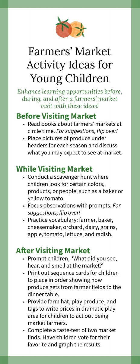 Farmers' Market Activity Ideas for Young Children