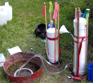 Equipment used to measure the soil infiltration rate at Troy Gardens
